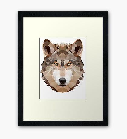 Intense Low Poly Wolf Framed Print