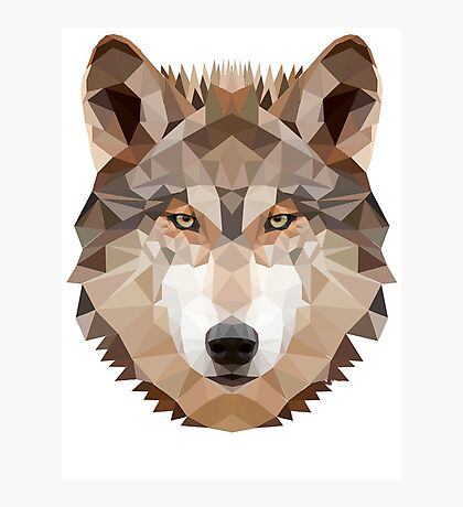 Intense Low Poly Wolf Photographic Print