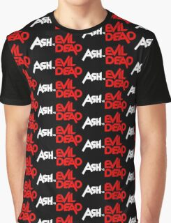 ASH VS EVIL DEAD TITLE WHITE AND RED Graphic T-Shirt