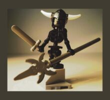 Black Skeleton Custom LEGO® Minifigure with Viking Helmet and Warrior Weapons, by 'Customize My Minifig' by Chillee