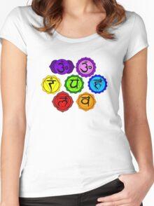 YOGA REIKI PLAIN SEVEN CHAKRA SYMBOLS TEMPLATE Women's Fitted Scoop T-Shirt