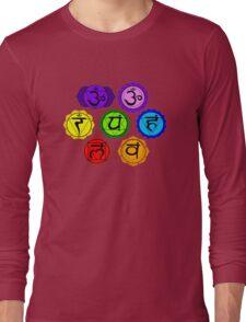 YOGA REIKI PLAIN SEVEN CHAKRA SYMBOLS TEMPLATE Long Sleeve T-Shirt