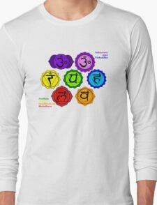 YOGA REIKI PLAIN SEVEN CHAKRAS SYMBOLS LABELED. Long Sleeve T-Shirt
