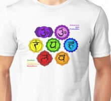 YOGA REIKI PLAIN SEVEN CHAKRAS SYMBOLS LABELED. Unisex T-Shirt