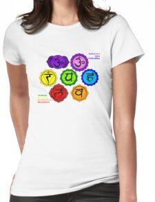 YOGA REIKI PLAIN SEVEN CHAKRAS SYMBOLS LABELED. Womens Fitted T-Shirt