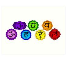Yoga reiki seven chakra symbols horizontal template. Art Print