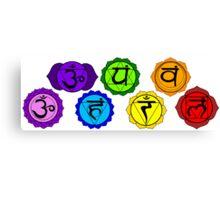Yoga reiki seven chakra symbols horizontal template. Canvas Print