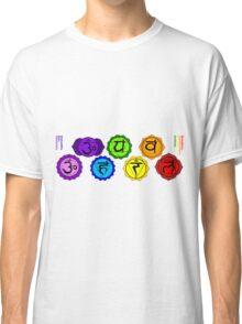 Yoga reiki seven chakras symbols labeled horizontal template. Classic T-Shirt
