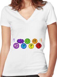 Yoga reiki seven chakras symbols labeled horizontal template. Women's Fitted V-Neck T-Shirt