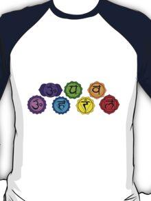 Yoga reiki seven chakras symbols horizontal template. T-Shirt