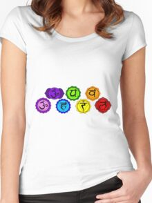 Yoga reiki seven chakras symbols horizontal template. Women's Fitted Scoop T-Shirt