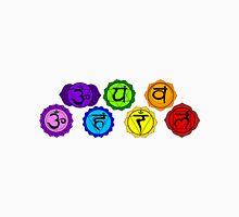 Yoga reiki seven chakras symbols horizontal template. Unisex T-Shirt