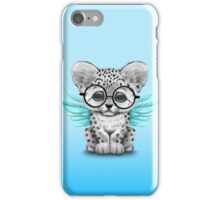 Snow Leopard Cub with Fairy Wings Wearing Glasses Blue iPhone Case/Skin