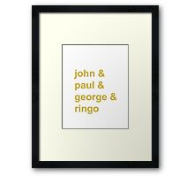 beatles name and Framed Print