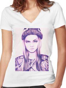 Cara Delevingne Women's Fitted V-Neck T-Shirt