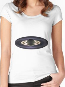 Earth From Saturn VIA Cassini Women's Fitted Scoop T-Shirt