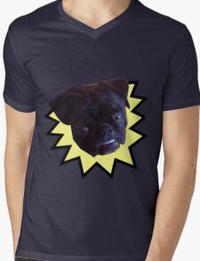 Overbite Black Pug Mens V-Neck T-Shirt