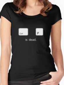 Print is dead.  (PC version) Women's Fitted Scoop T-Shirt