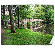 Packanack Lake Footbridge to the Island in Springtime Poster