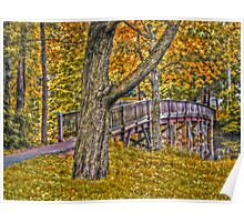 Footbridge in the Fall - Advanced HDR Poster