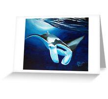 Manta ray diving down Greeting Card