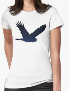 Bird Silhouette 1: Night, with Shadow Womens Fitted T-Shirt