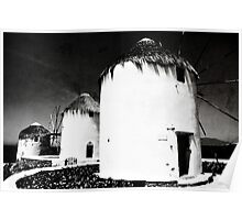 The windmills of Mykonos - textured black and white Poster