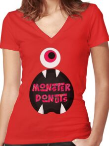 MoNsTeR DoNuTs CoLoR Women's Fitted V-Neck T-Shirt