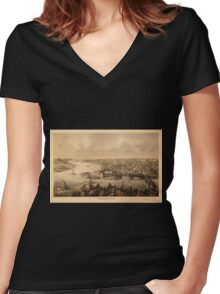 Panoramic Maps Parkersburg Women's Fitted V-Neck T-Shirt