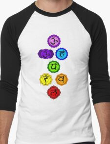 Yoga Reiki seven chakras symbols vertical template Men's Baseball ¾ T-Shirt