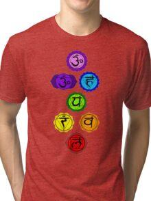 Yoga Reiki seven chakras symbols vertical template Tri-blend T-Shirt