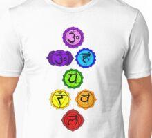 Yoga Reiki seven chakras symbols vertical template Unisex T-Shirt