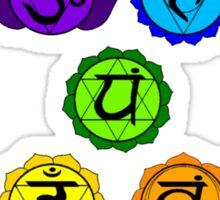 Yoga Reiki seven chakras symbols vertical template Sticker