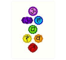Yoga Reiki seven chakras symbols vertical template Art Print