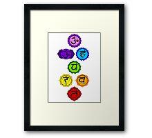 Yoga Reiki seven chakras symbols vertical template Framed Print