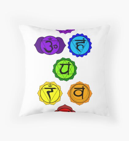 Yoga Reiki seven chakras symbols vertical template Throw Pillow