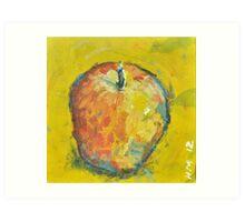 Apple on Yellow Art Print
