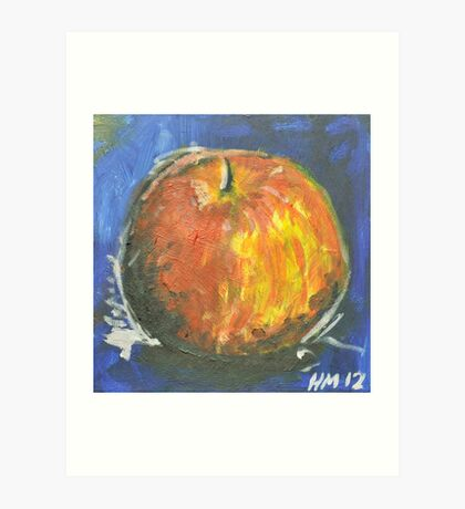 Apple on Blue Art Print