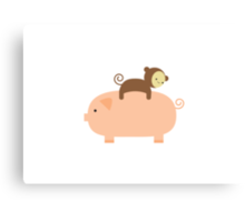 Baby Monkey Riding on a Pig Canvas Print