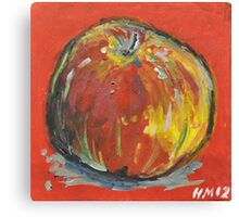 Apple on Red Canvas Print