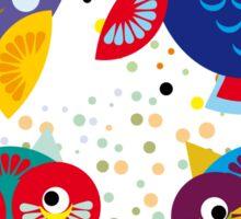 owls on blue background Sticker
