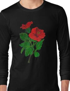 A Red Hibiscus Flower Isolated On White Background Long Sleeve T-Shirt