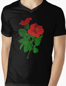 A Red Hibiscus Flower Isolated On White Background Mens V-Neck T-Shirt