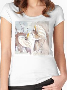 Arums - Cloak of Silver-white Women's Fitted Scoop T-Shirt