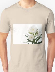 White Oleander Flowers Close Up Isolated On White Background  Unisex T-Shirt