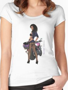 Want To Ride sticker Women's Fitted Scoop T-Shirt