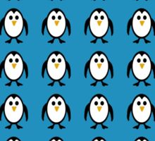 Penguin Pattern on Blue Background Sticker