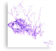Inkpen on Paper Violet Fish Canvas Print