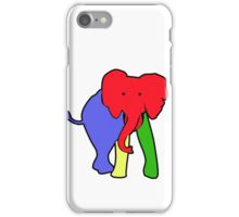 Elephant in Colorblock Primary Colors iPhone Case/Skin