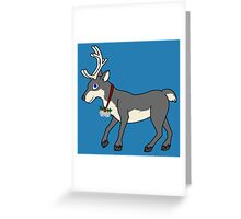 Gray Reindeer with Silver Christmas Jingle Bells Greeting Card